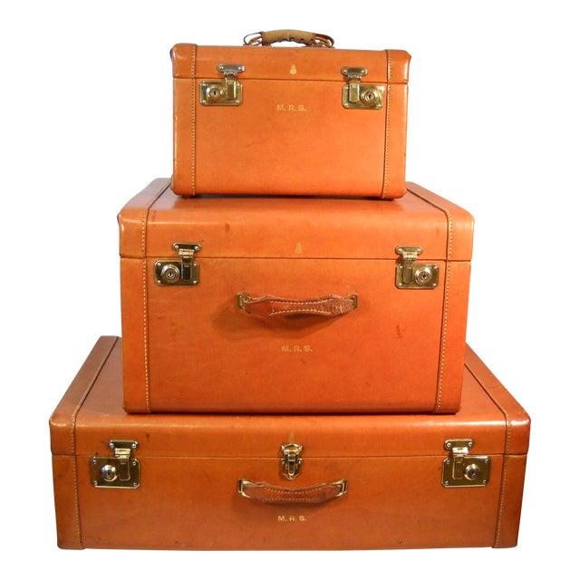 1950s Mark Cross Leather Luggage - Set of 3 | Chairish