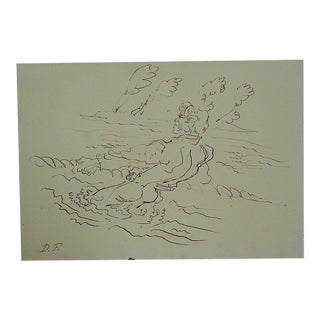 Mid 20th Century Original Signed Drawing By D. Fredenthal