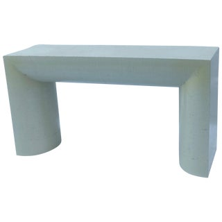 Karl Springer Style Grasscloth Console Table