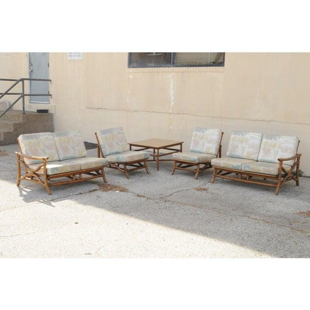 Mid Century Ficks Reed Rattan Tiki Sofa Set - Set of 5 - Image 3 of 11