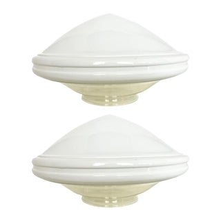 Art Deco Milk Glass & Clear Pendant Globes- A Pair