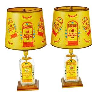 Vintage Gordon's London Dry Gin Bottle Table Lamps - a Pair