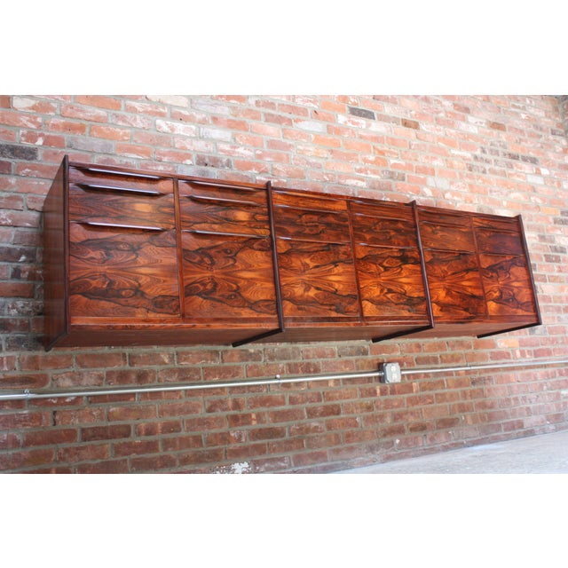 Monumental Scandinavian Modern Rosewood Floating Credenza - Image 3 of 11