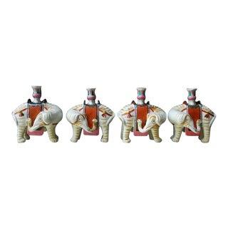 Mottahedeh Porcelain Elephant Candleholders - Set of 4