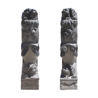 Chinese Stone Foo Dogs Door Stops - A Pair
