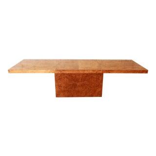 Milo Baughman Burled Olive Wood Pedestal Dining Table