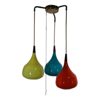 Danish Triple Teak & Glass Pendant Fixture