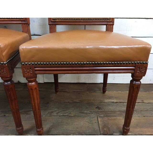 Antique Louis XVI Leather Upholstered French Country Chairs - A Pair - Image 8 of 11
