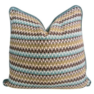 Turquoise & Brown Geometric Striped Pillow