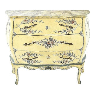 Antique Hand-Painted Bombe Chest-Faux Marble Top