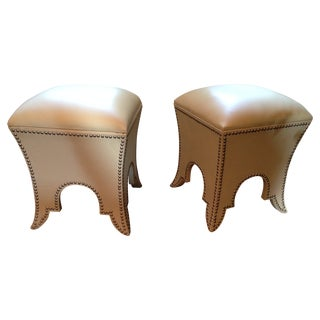 Leather Moroccan Poofs - A Pair