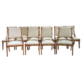 Italian Style Carved Dining Chairs - Set of 10