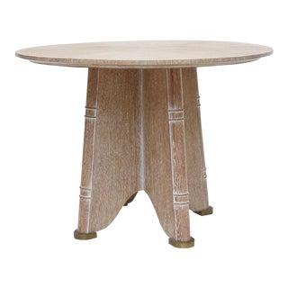 Fine French Cerused Oak Gueridon Table by Jules Leleu