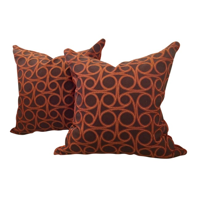 Kravet Orange Circle Jacquard/Pollack Orange Silk Velvet Pillows - a Pair - Image 1 of 8