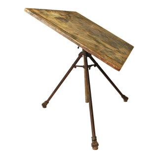 Vintage Industrial Wood & Iron Drafting Table