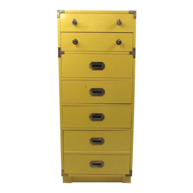 Vintage Modern Campaign Style Chest of Drawers - Image 1 of 6