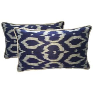 Navy Blue & Gray Silk Atlas Ikat Pillows - A Pair