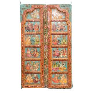 Teal Folk Painted Mandawa Door