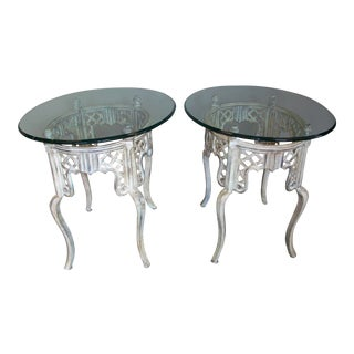 Glass and Cast Iron End Tables - A Pair