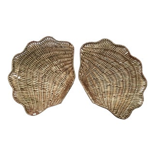 Nautical Shell Catchall Baskets - A Pair