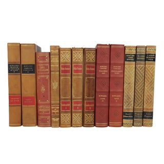 Art Deco Leather Bound Books - Set of 12