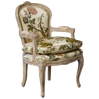 French Louis XV Style Painted Child's Fauteuil in Flower Chintz Fabric from ABC