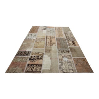 Vintage Turkish Overdyed Patchwork Oushak Rug - 6′7″ × 9′11″