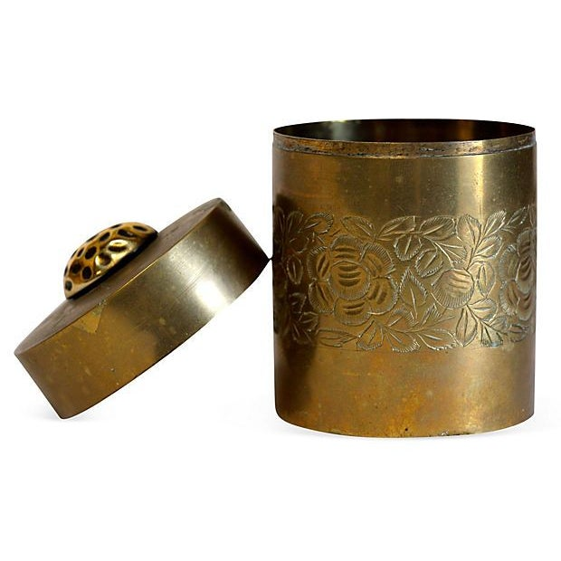 Etched Antique Brass Canister - Image 3 of 4