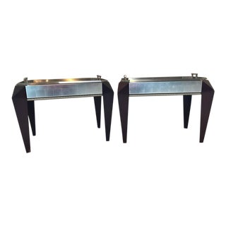 Pair of Dakota Jackson Stainless Steel Serving Trays on Mahogany Legs