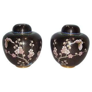 Black Cloisonne Ginger Jars - A Pair