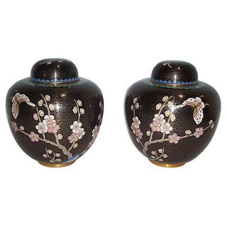 Black Cloisonne Ginger Jars - A Pair