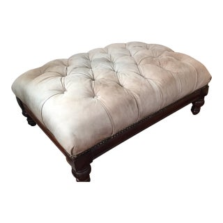 Off White Leather & Wood Ottoman