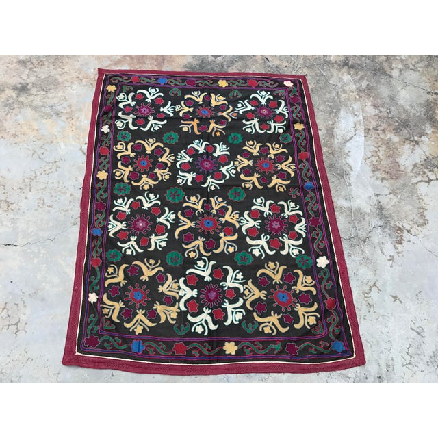 Dark Gray Floral Pattern Antique Suzani Textile - Image 2 of 6
