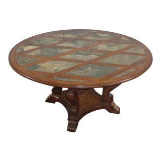 Maitland Smith Round Slate & Reclaimed Wood Table