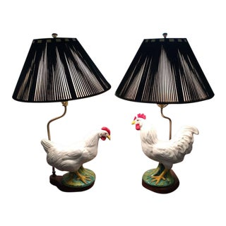 Vintage Ceramic Rooster Lamps - A Pair