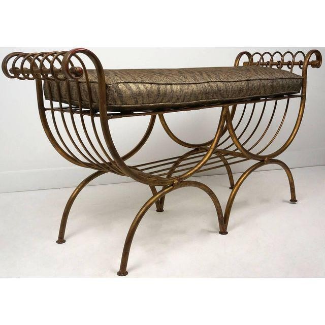 Hollywood Regency Style Gold Gilt Metal Tiger Pattern Fabric Cushion Bench - Image 8 of 10