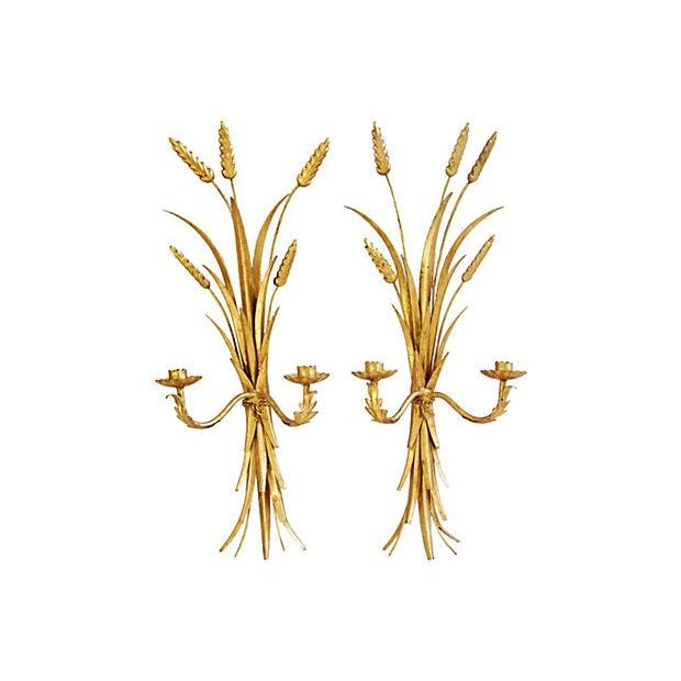 Image of Mid-Century Italian Gilt Sconces - A Pair