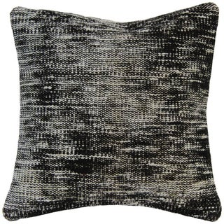 Vintage Handmade Overdyed Black Pillow Cover -Rug Pillowcase - Turkish Hand Knotted Pillow