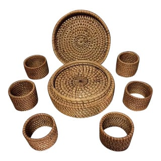 Vintage Wicker Coasters & Napkin Rings - 11 Pieces