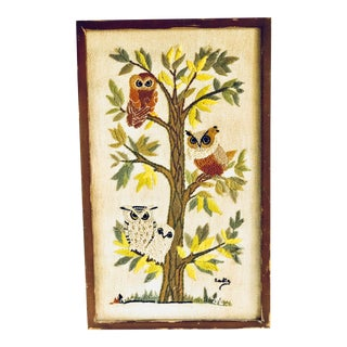 Mid-Century Embroidered Crewel Framed Owls