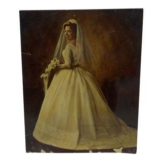 "Vintage Color Photograph - ""Beautiful Wedding Dress"" - Circa 1960"