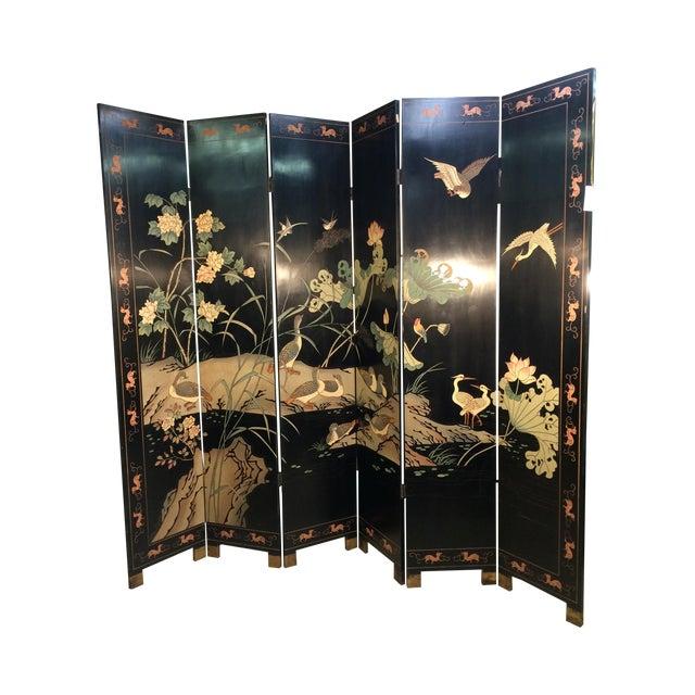 6 Panel Coromandel Folding Asian Screen - Image 1 of 8