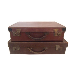 Two Small Vintage Leather Suitcases