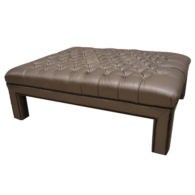Image of Bernhardt Tufted Large Leather Ottoman Bench