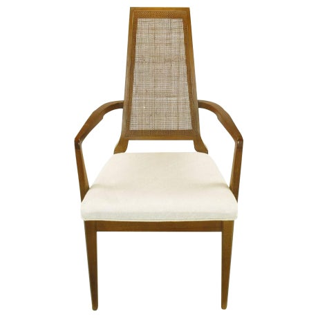 Sleek, circa 1950s Modern Walnut and Cane Dining Chairs - Image 1 of 10