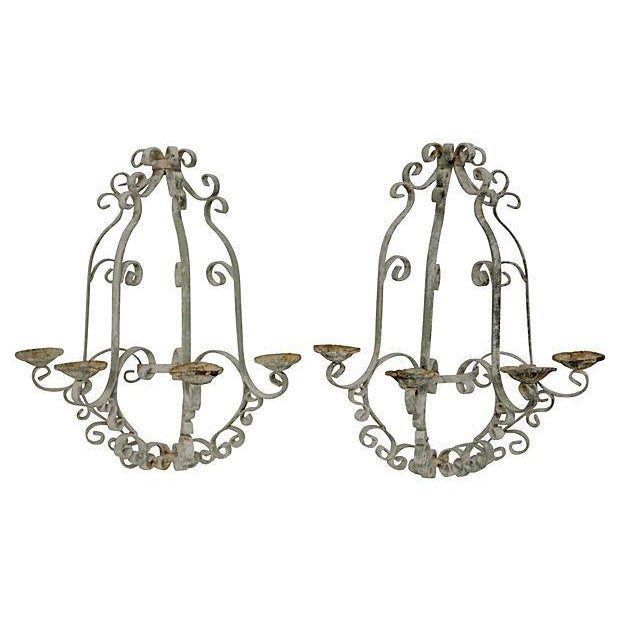 Shabby Chic Wrought Iron Sconces - A Pair - Image 3 of 5