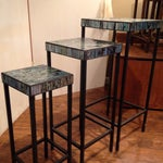Image of Blue Glass Mosaic Nesting Tables - Set of 3