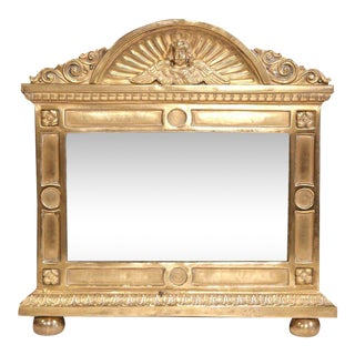 19th Century French Brass Repousse Cherub Wall Mirror