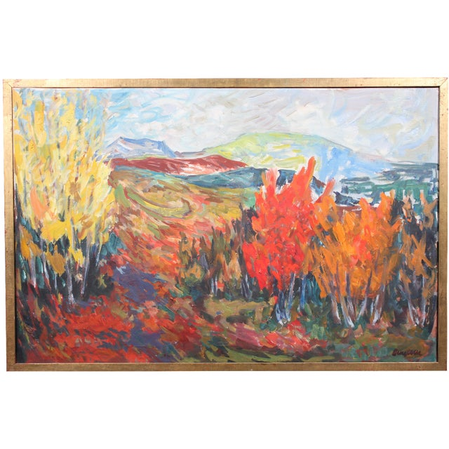 "Image of Vintage ""Autumn Color"" Oil Painting"