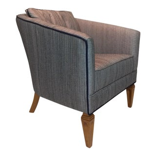 Satin Gray Tweed Upholstered Barrel Chair